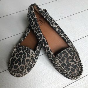 Lucky Brand leather leopard print moccasins 9.5
